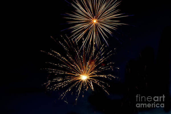 Fireworks Show Wall Art - Photograph - Double Blast by Robert Bales