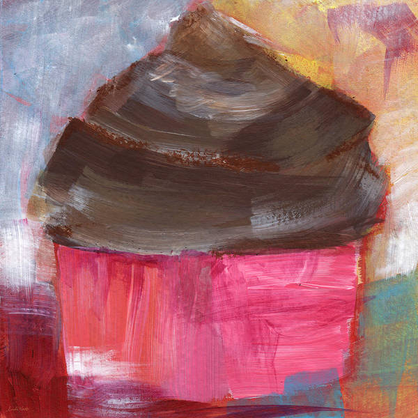 Bright Colorful Mixed Media - Double Chocolate Cupcake- Art By Linda Woods by Linda Woods