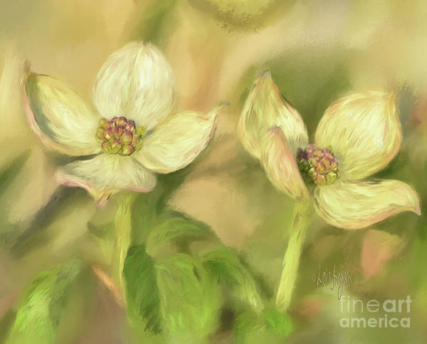 Flowering Trees Digital Art - Double Dogwood Blossoms In Evening Light by Lois Bryan