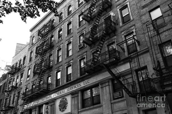 Photograph - Double Fire Escape Mono by John Rizzuto