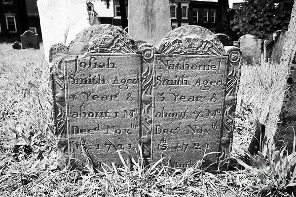Wall Art - Photograph - Double Grave Gravestones For Two Young Children Josiah And Nathaniel Smith Who Died In 1721 In Copps by Joe Fox
