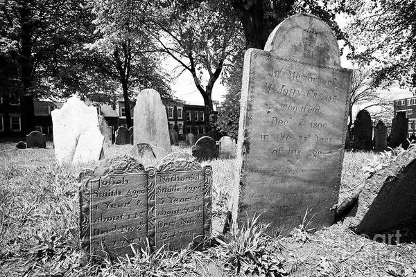 Wall Art - Photograph - Double Grave Gravestones For Two Young Children Josiah And Nathaniel Smith Who Died In 1721 Next To  by Joe Fox