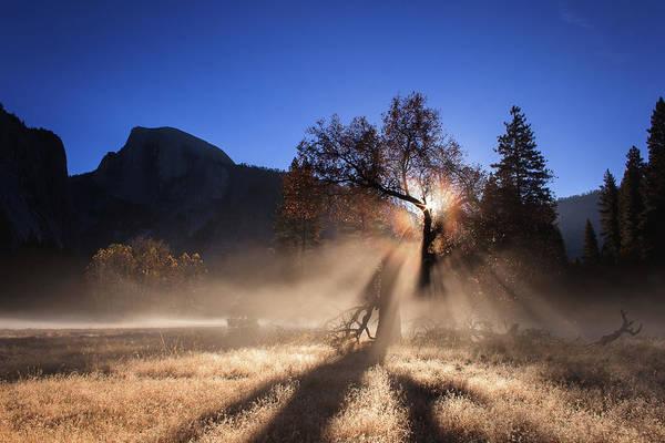 Yosemite Half Dome Wall Art - Photograph - Double Ice Fog Rainbow In Yosemite Valley by Jeff Sullivan