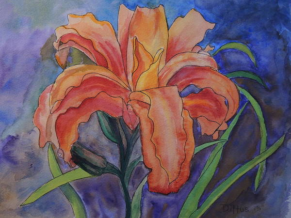 Wall Art - Painting - Double Lily by Chrissey Dittus