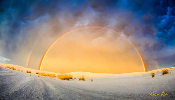 Photograph - Stunning Double Rainbow At White Sands National Monument by Rikk Flohr