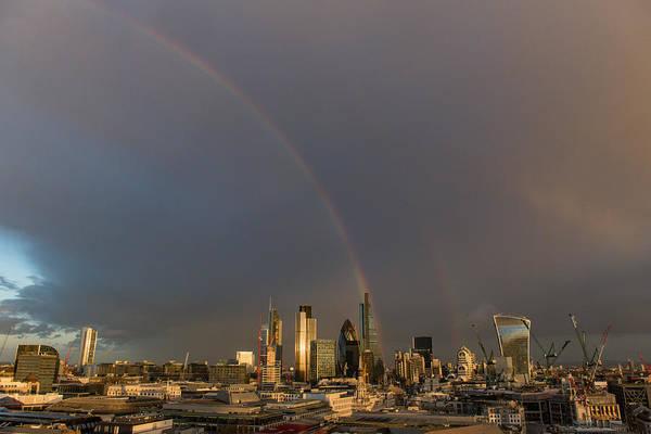 Photograph - Double Rainbow Over The City Of London by Gary Eason