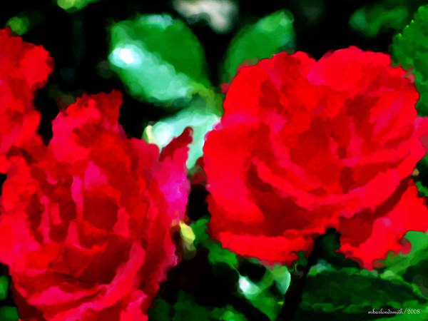 Rosa Digital Art - Double Red Rose Impression by Michelle  BarlondSmith