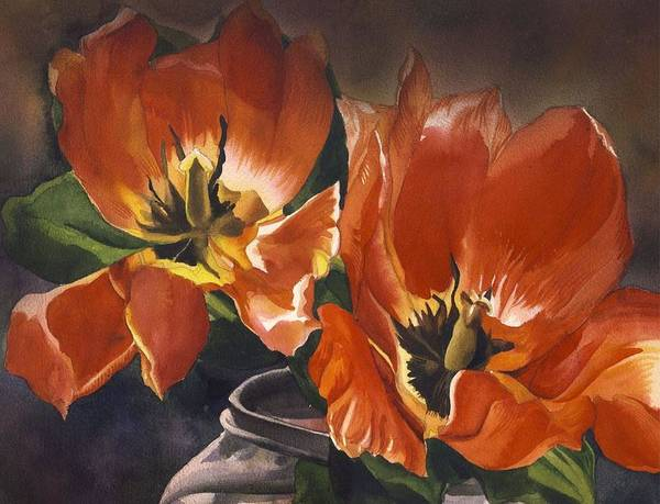 Painting - Double Red Tulips by Alfred Ng