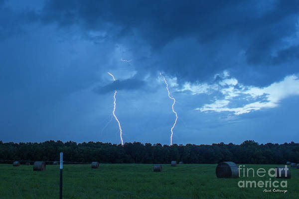 Photograph - Double Trouble Dusk Thunderstorm Lightning Weather Art by Reid Callaway