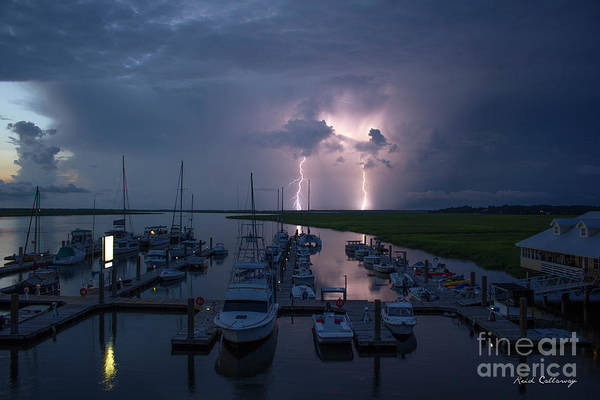 Photograph - Double Trouble Bull River Marina Lightning Art Tybee Island Georgia by Reid Callaway