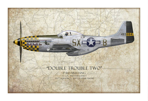 Bailey Digital Art - Double Trouble Two P-51d Mustang - Map Background by Craig Tinder