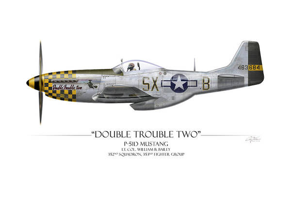 Bailey Digital Art - Double Trouble Two P-51d Mustang - White Background by Craig Tinder