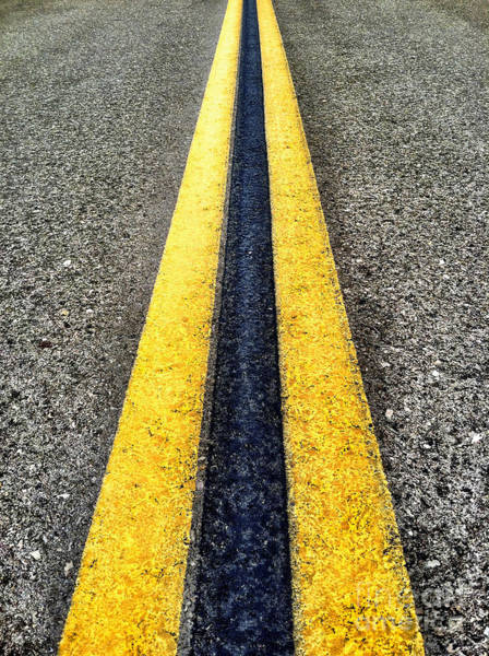 Photograph - Double Yellow Road Lines by Bryan Mullennix