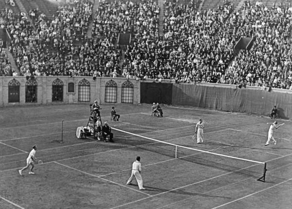 Wall Art - Photograph - Doubles Tennis At Forest Hills by Underwood Archives