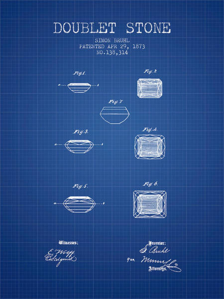 Patent Drawing - Doublet Stone Patent From 1873 - Blueprint by Aged Pixel