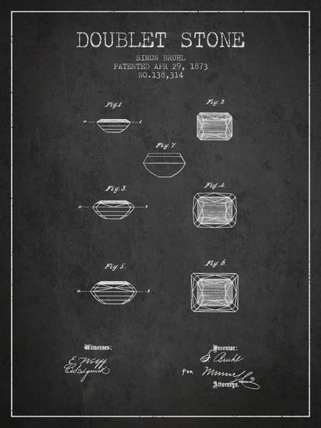 Vintage Patent Drawing - Doublet Stone Patent From 1873 - Charcoal by Aged Pixel