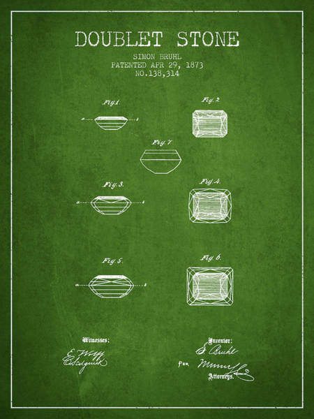 Patent Drawing - Doublet Stone Patent From 1873 - Green by Aged Pixel