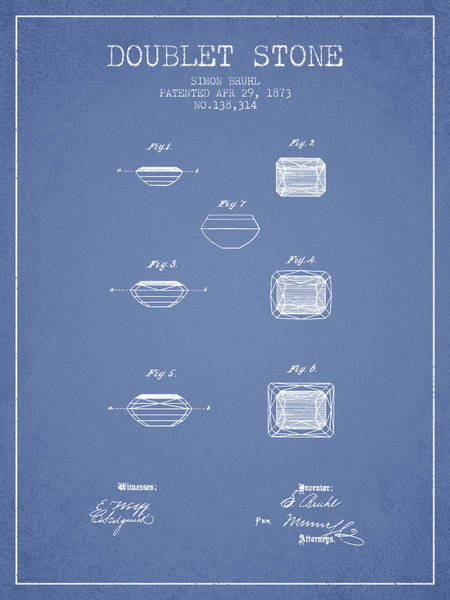Patent Drawing - Doublet Stone Patent From 1873 - Light Blue by Aged Pixel
