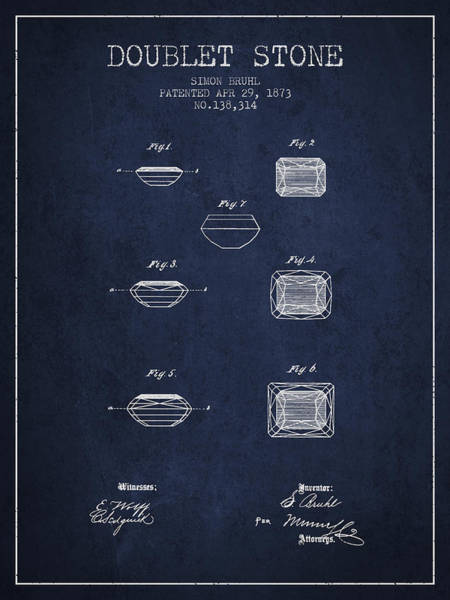 Patent Drawing - Doublet Stone Patent From 1873 - Navy Blue by Aged Pixel