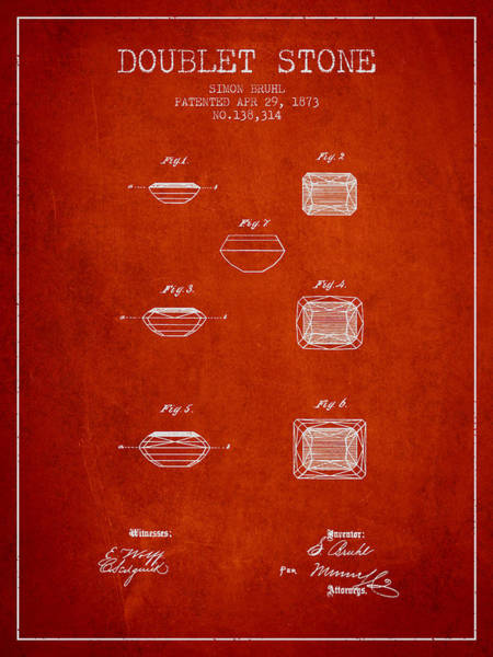 Wall Art - Drawing - Doublet Stone Patent From 1873 - Red by Aged Pixel
