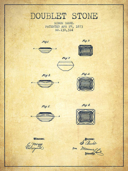 Patent Drawing - Doublet Stone Patent From 1873 - Vintage by Aged Pixel