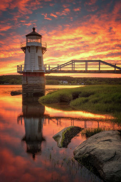 Wall Art - Photograph - Doubling Point Light At Sunset by Jeff Bazinet
