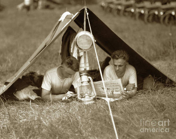 Photograph - Doughboys In Pup Tent 1918 by California Views Archives Mr Pat Hathaway Archives
