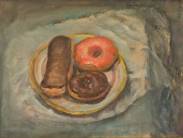 Doughnut Painting - Doughnuts And Limoges by Riki R  Nelson