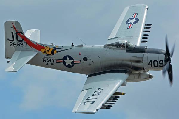Wall Art - Photograph - Douglas A-1d Skyraider Nx409z Chino California April 30 2016 by Brian Lockett