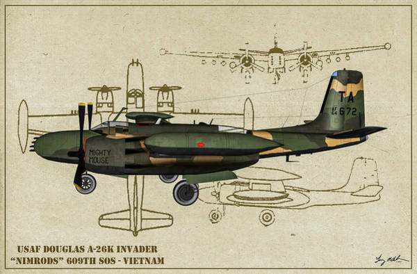 Wall Art - Digital Art - Douglas A-26 Vietnam Profile by Tommy Anderson