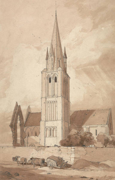 Drawing - Douvres Church, Normandy by John Sell Cotman