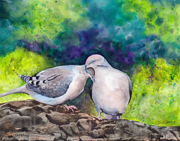 Wall Art - Painting - Dove Love by Susy Soulies