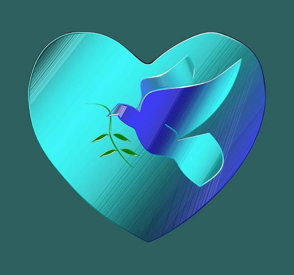 Olive Branch Digital Art - Dove Of The Blue Sky Heart by Ira Grounds