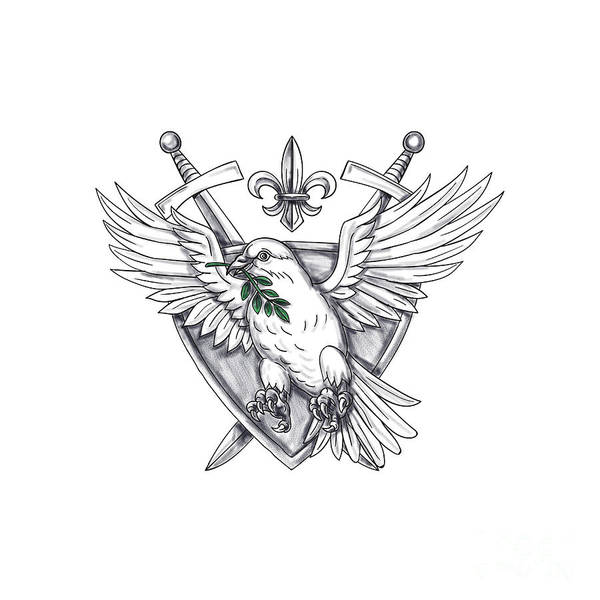 Fleur Digital Art - Dove Olive Leaf Sword Crest Tattoo by Aloysius Patrimonio