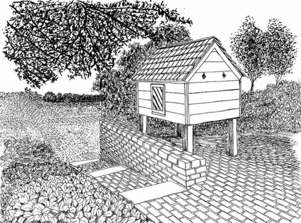 Reconstruction Drawing - Dovecote, City Of Williamsburg Virginia Historic District by Dawn Boyer