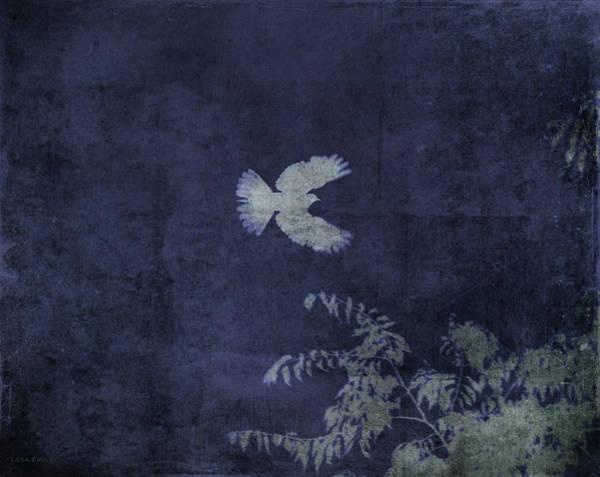 Mixed Media - Doves Flight Indigo by Lesa Fine