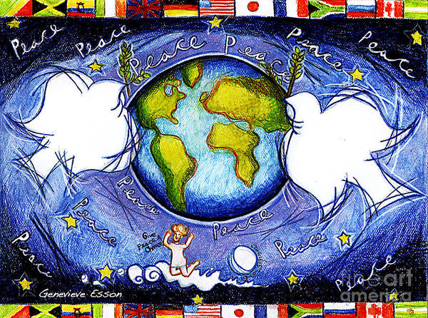 Cosmos Drawing - Doves Of The World by Genevieve Esson
