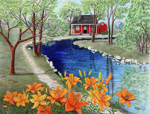 Tigerlily Wall Art - Painting - Down By The River by Paulette Morrissey
