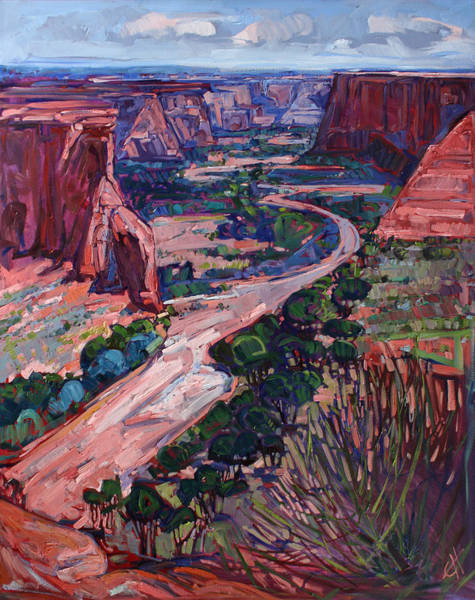 Red Rock Painting - Down In The Canyon by Erin Hanson