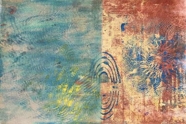 Monotype Mixed Media - Down The Shore by Susan Richards