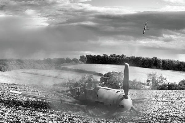 Photograph - Downfall Of A 109 Cropped Black And White Version by Gary Eason