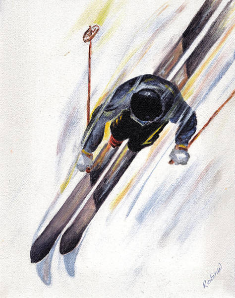 White Christmas Painting - Downhill Skier by Robin Wiesneth