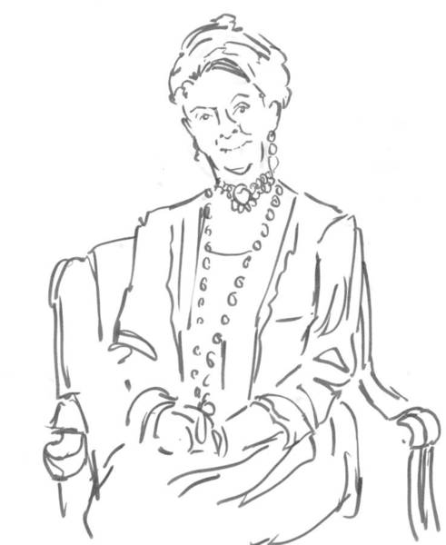 Drawing - Downton Abbey - The Dowager Countess by Mike Jory