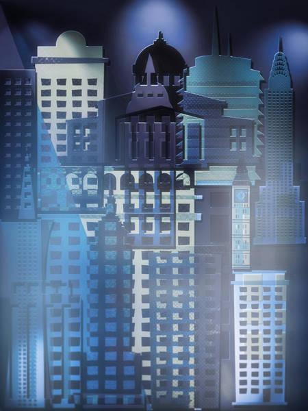 Wall Art - Digital Art - Downtown Abstract - Blue Mist by Steve Ohlsen