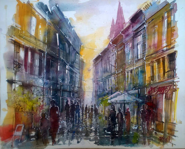 Painting - Downtown After Rain by Lorand Sipos