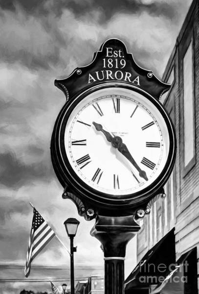 Photograph - Downtown Aurora Indiana Black And White by Mel Steinhauer
