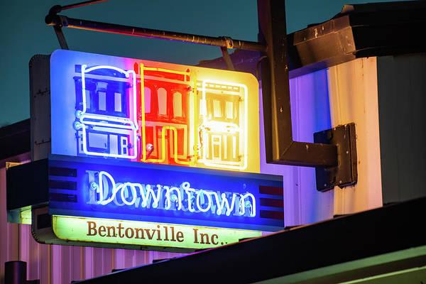 Photograph - Downtown Bentonville Inc. Neon Sign by Gregory Ballos