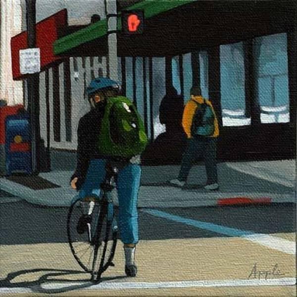 Wall Art - Painting - Downtown Biking by Linda Apple