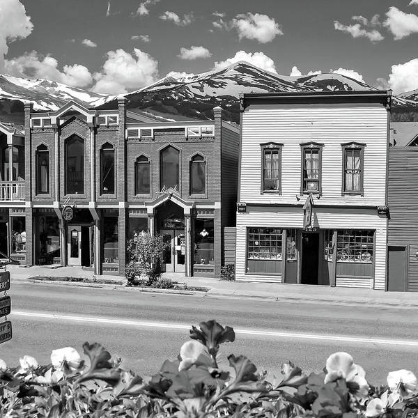 Photograph - Downtown Breckenridge Colorado And Mountains - Square Format Bw by Gregory Ballos