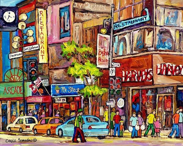 Painting - Downtown Burgers Harvey's Mr Steer Basha's Montreal Memories Canadian Art Colorful Streetscenes  by Carole Spandau